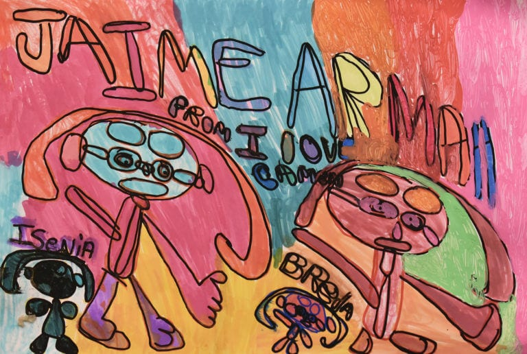 Four cartoon-like human figures, on a multi-colored background