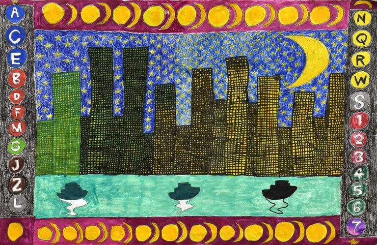 A drawing of a city skyline at night under a crescent moon, frame by the New York City Subway line symbols