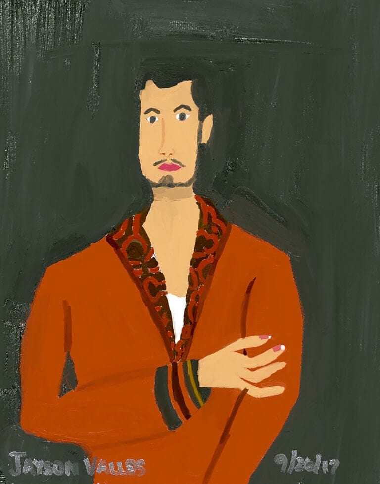 A self-portrait of the artist, Jayson Valles, wearing a smoking jacket