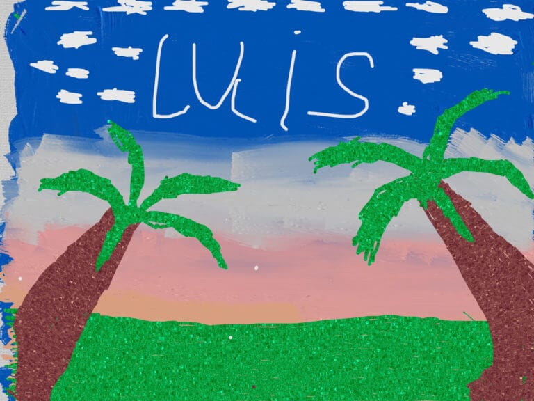 Serene image of palm trees with the name Luis written in the sky