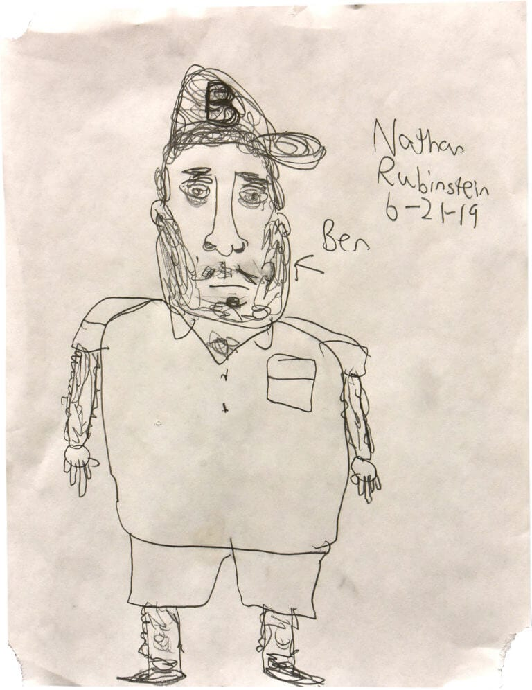 A pencil drawing of a bearded man named Ben