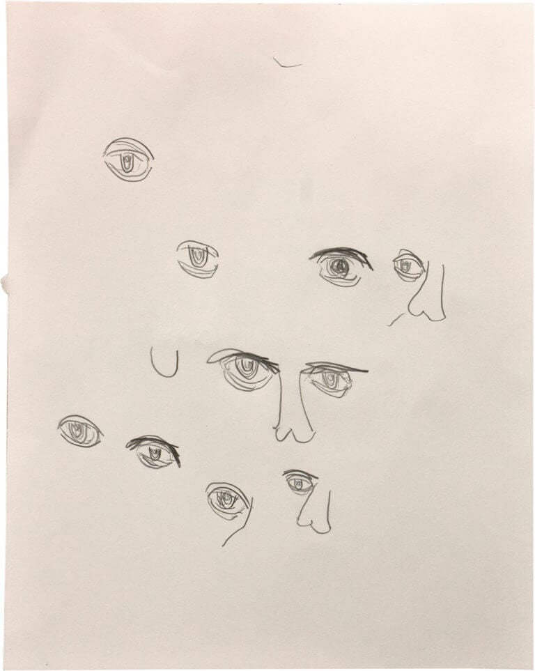A series of human eyes, and some noses, drawn with pencil on paper