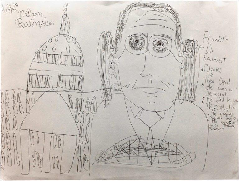 A portrait of Franklin D Roosevelt, with descriptive text about him