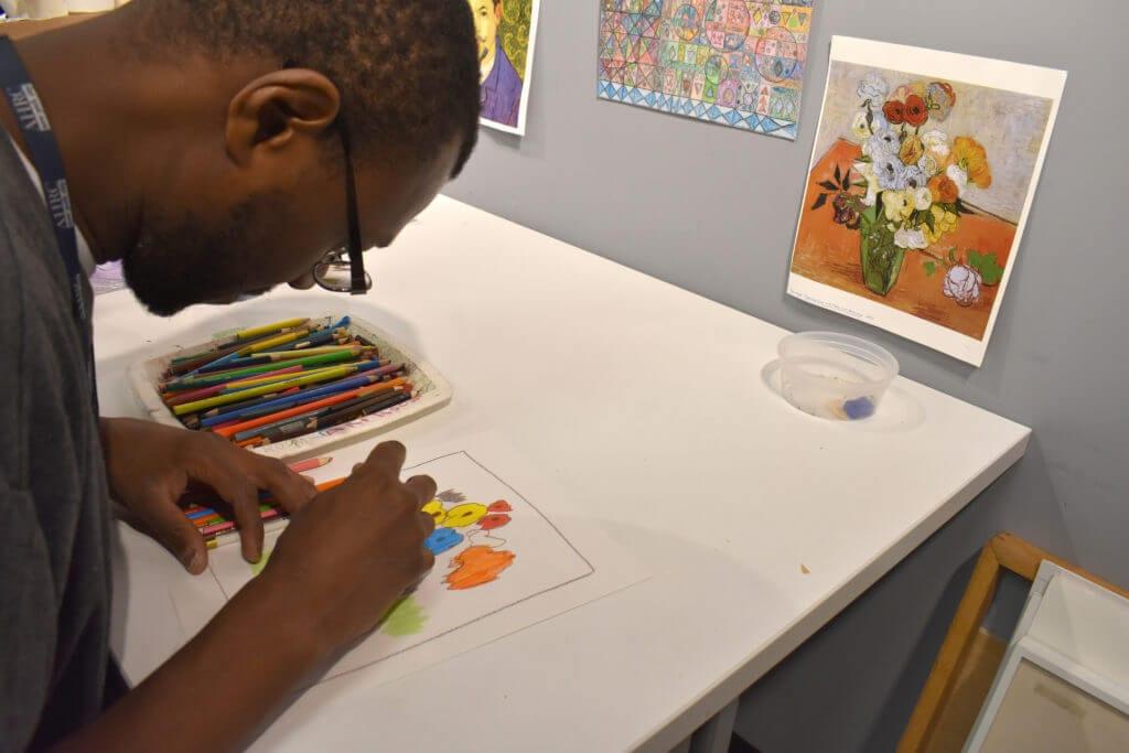 ArTech Collective artist Timotheus Davis begins a new work at AHRC NYC's Fisher Center