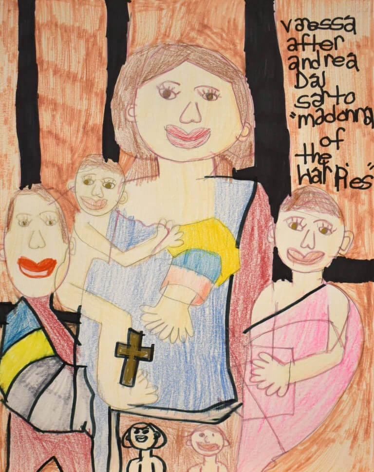 An interpretation of Andrea del Sarto's painting, Madonna of the Harpies, illustrated by Vanessa Feliciano