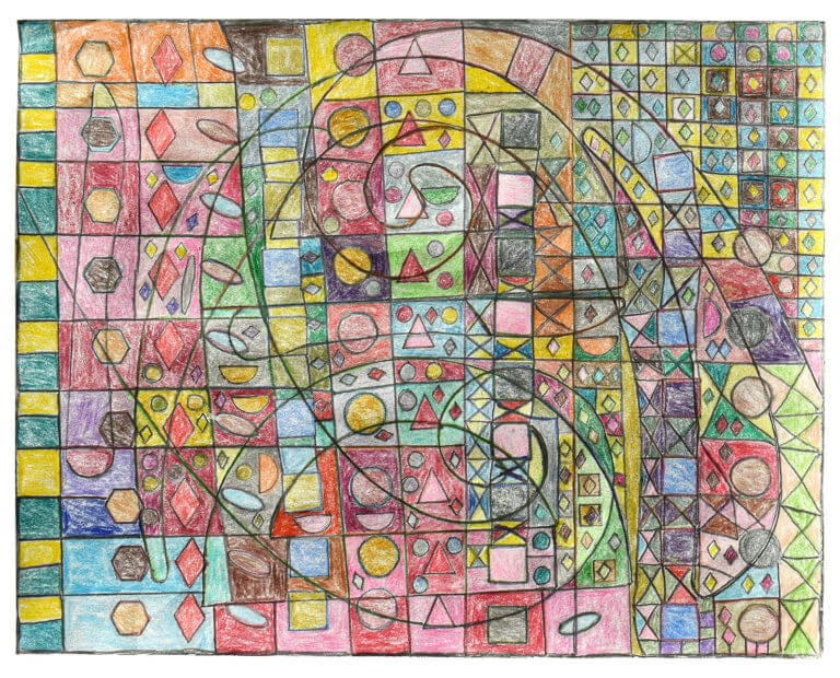 Various shapes and colors arranged on a grid, interrupted by the outline of a drafting tool
