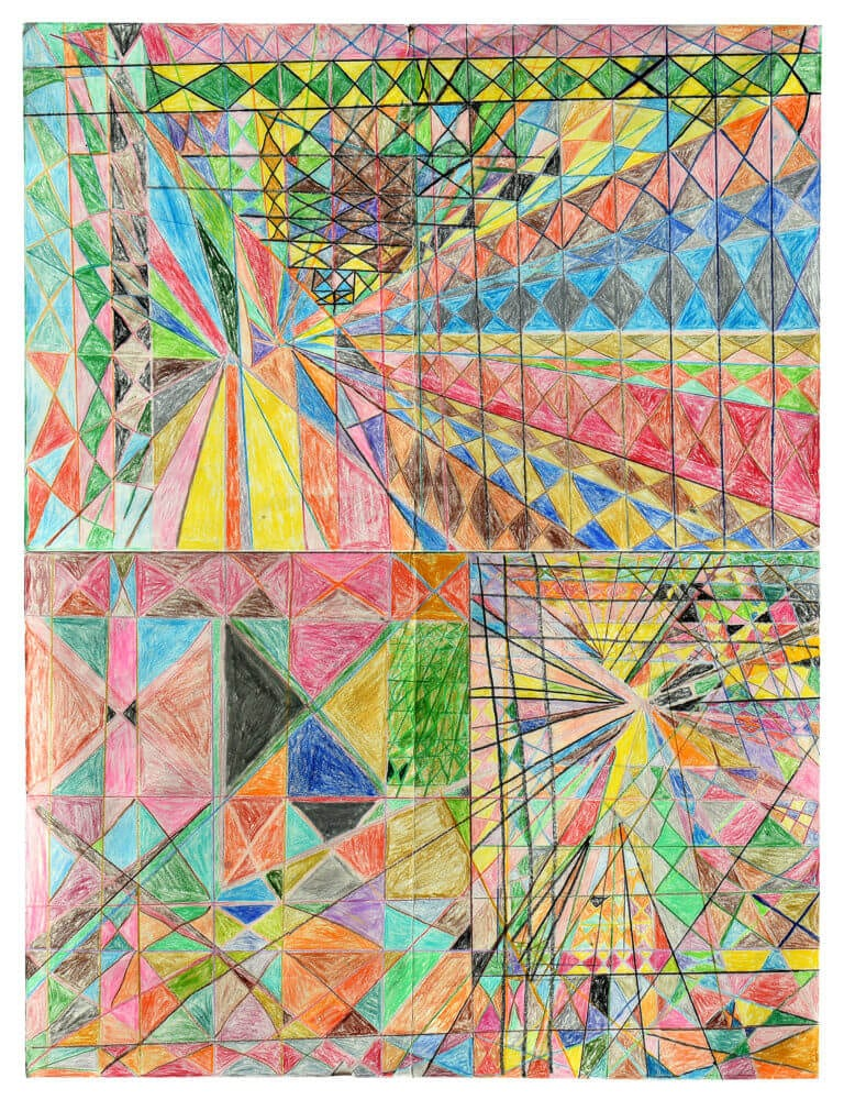 A colored pencil drawing of geometric shapes and colors, divided into four major quadrants