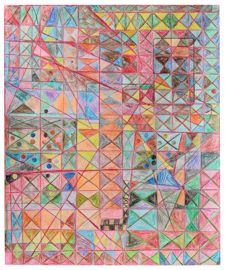 A colored pencil drawing consisting of colored shapes
