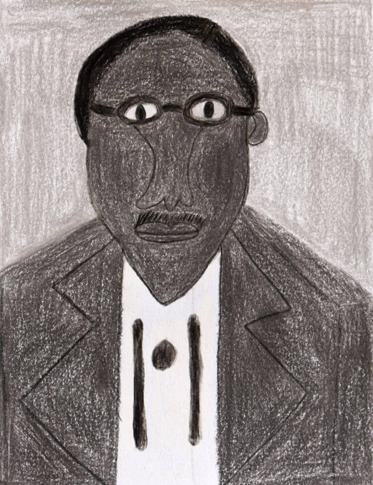 A colored pencil sketch of a Man in Gray with Glasses