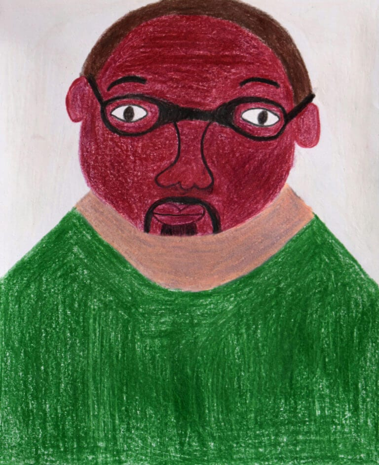 A colored pencil sketch of a Man with Glasses and Green Shirt