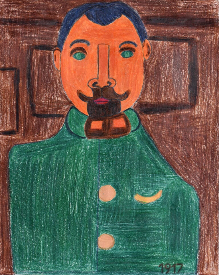 A colored Pencil Sketch of a Man with Green Eyes and Jacket