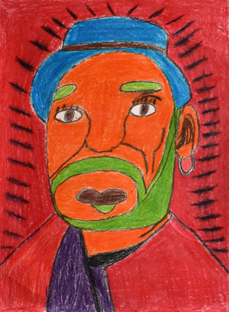 A colored pencil sketch of a Man with Orange Face and Blue Hat