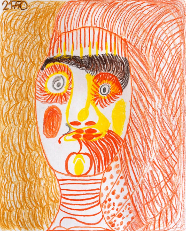 A colored pencil sketch of a Person Surrounded by Lines