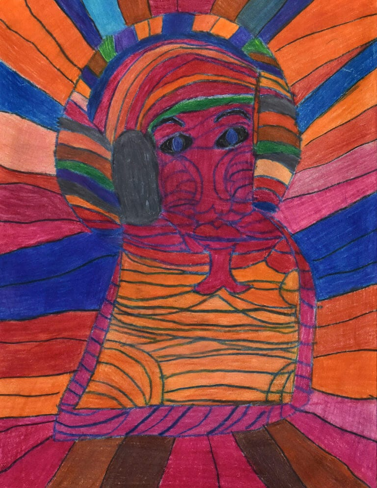 A colored pencil sketch of a Person with Magenta Face on a Colorful Background