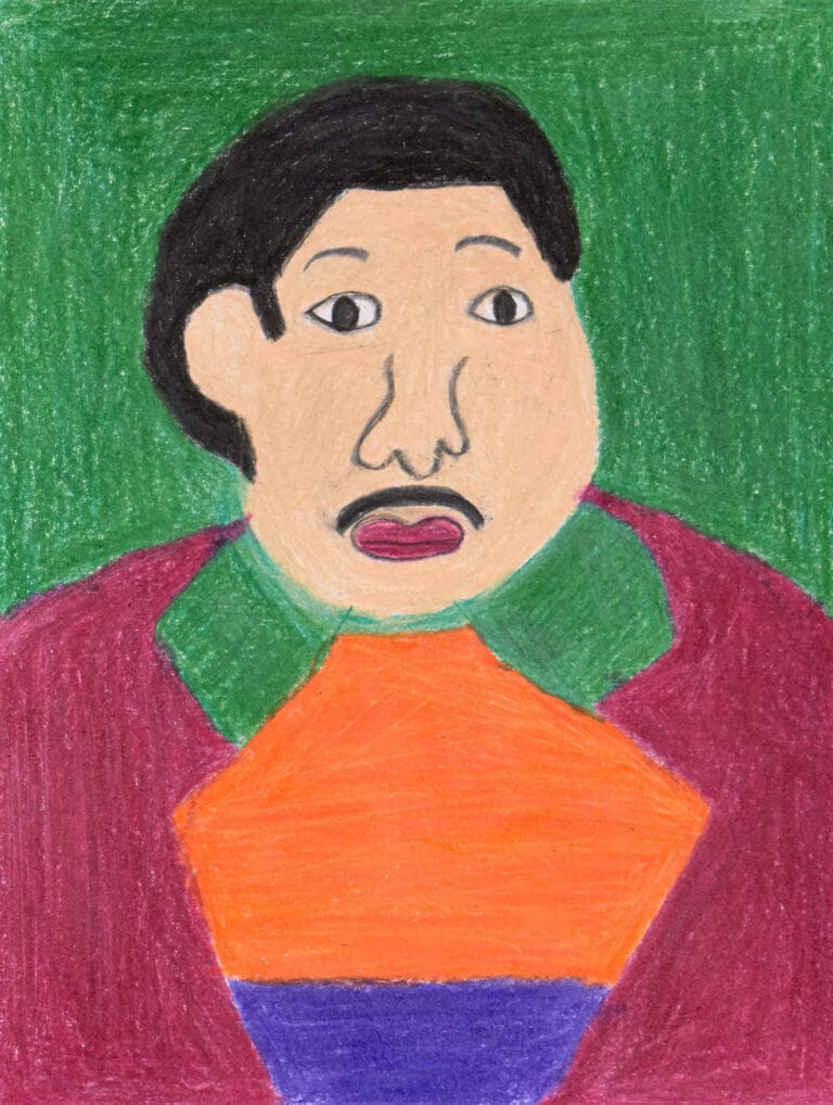 A colored pencil sketch of a Person with Orange shirt in a Green Background
