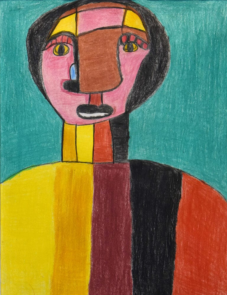 A colored pencil sketch of a figure with a multi-colored face and shirt on an aqua background