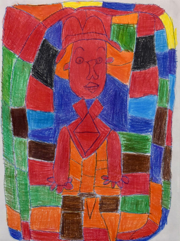 A colored pencil sketch of a Man with red skin, encased by blocks of color
