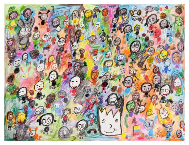 Hundreds of rudimentary characters on a colorful background