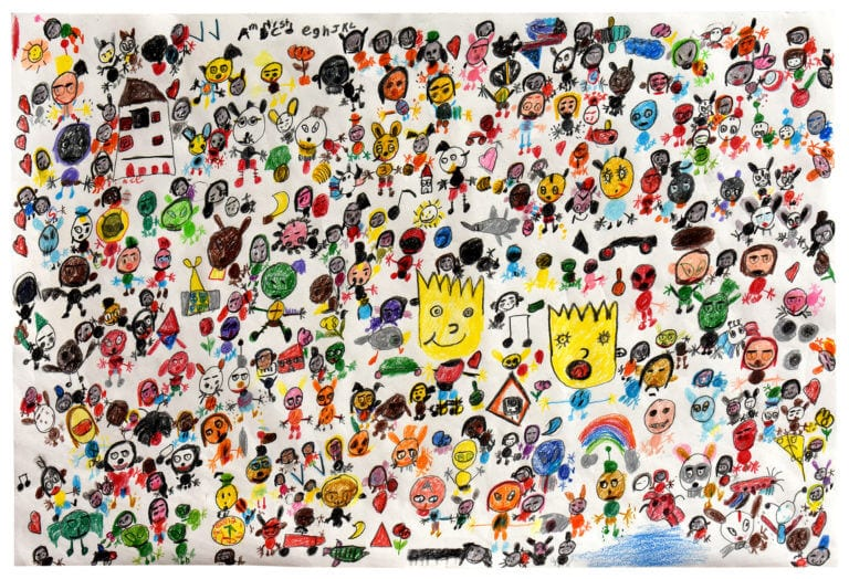 Hundreds of tiny characters, some more prominent than others, stand on a mostly white background