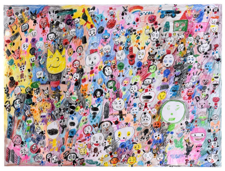 A large collection of faces congregate on a colorful background