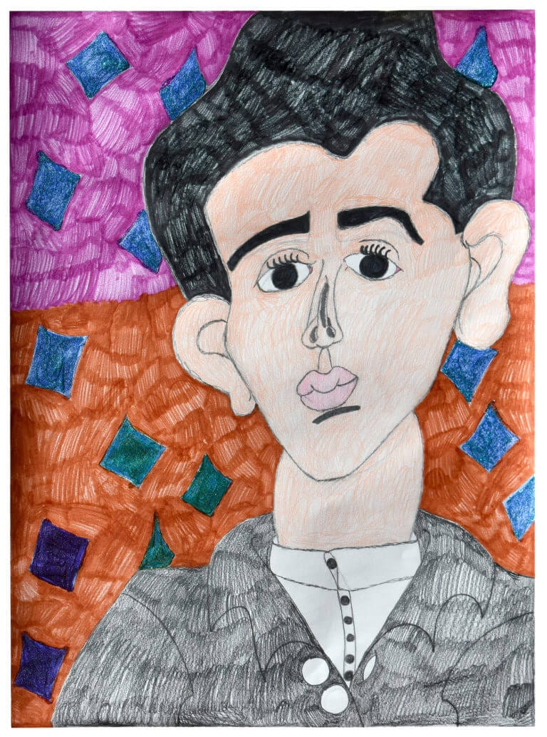 A cartoon portrait of a man with thick black hair, expressive eyes, and a pursed mouth