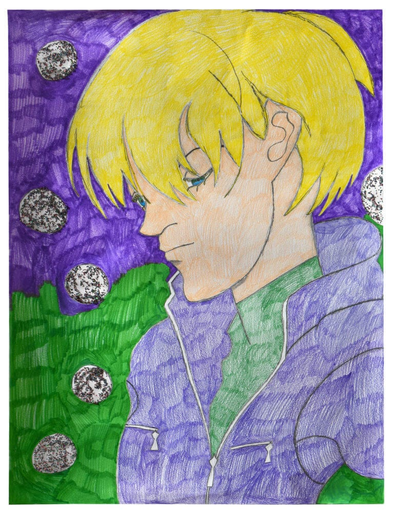 A portrait of a pensive character surrounded by glittery bubbles