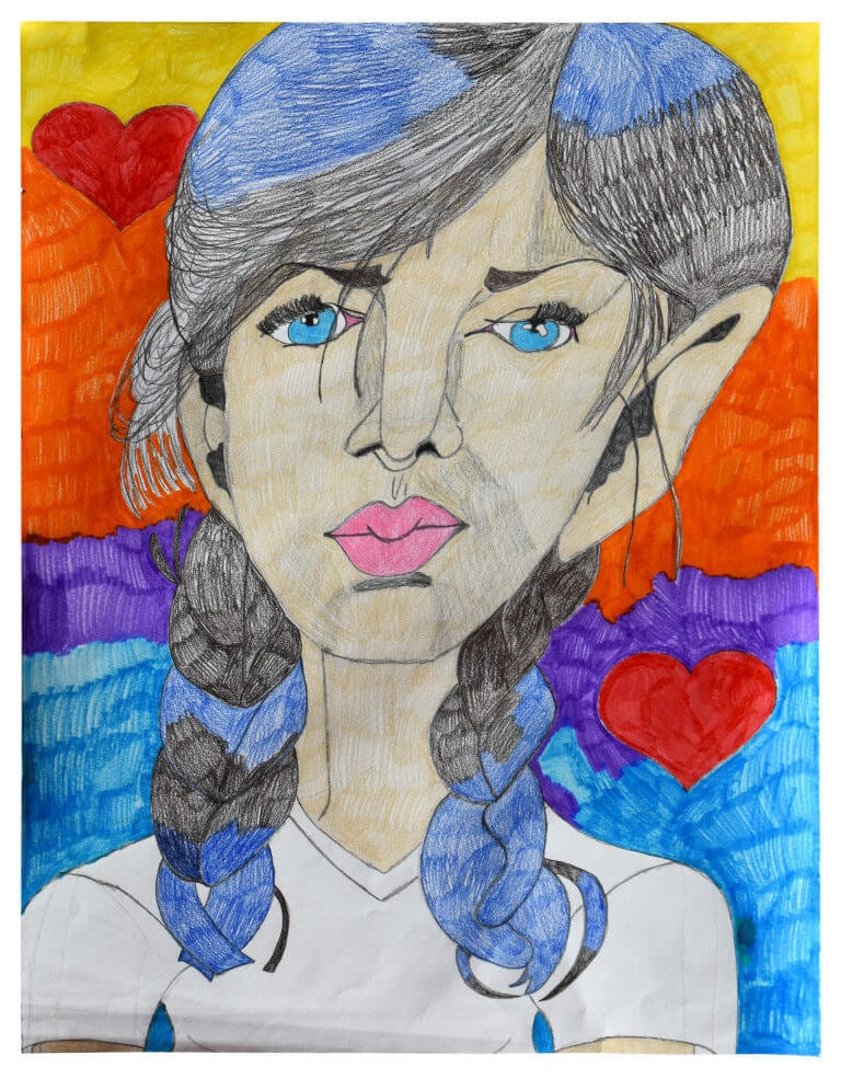 A colored pencil drawing of a girl with bright blue eyes on a colorful background