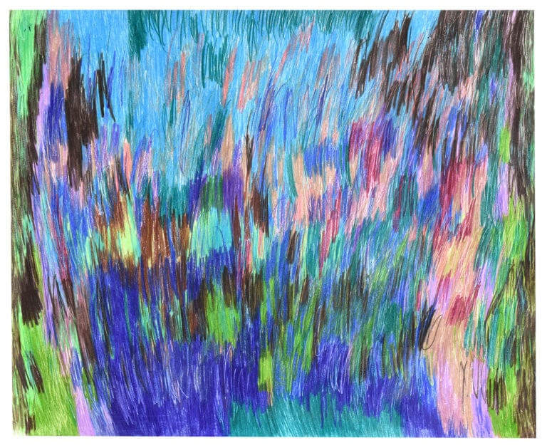 An abstract colored pencil drawing with many colors