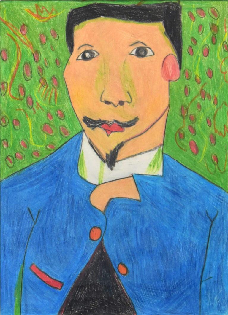 A portrait of a man in a blue jacket on a green leafy background, interpretation of Vincent van Gogh's Portrait of Doctor Félix Rey