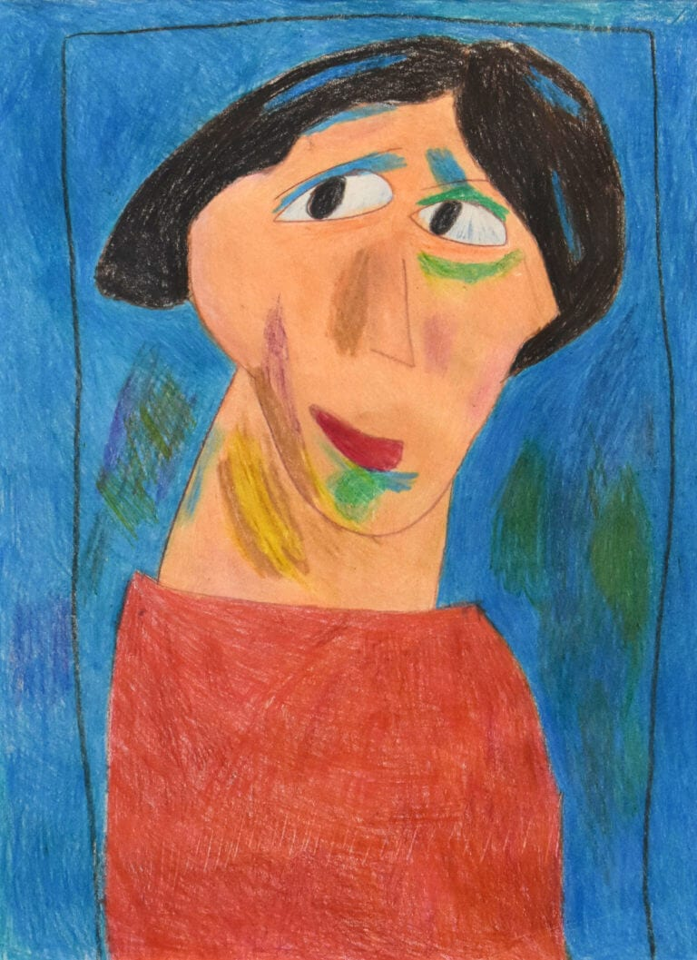 A portrait of a woman in red on a blue background, an interpretation of works by Alexei Jawlensky