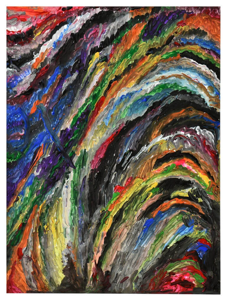 A colorful abstract drawing with long, thin strokes of acrylic paint