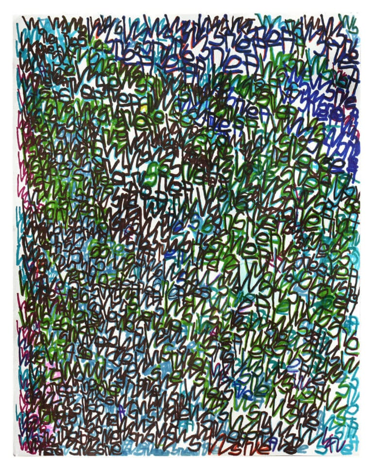 A densely-composed image containing a repeated use of the name of the artist, Wayne Anderson
